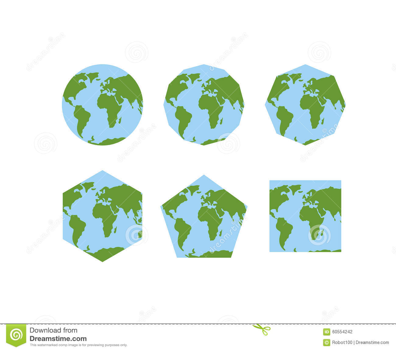 set of geometric shapes of world atlases map of planet earth