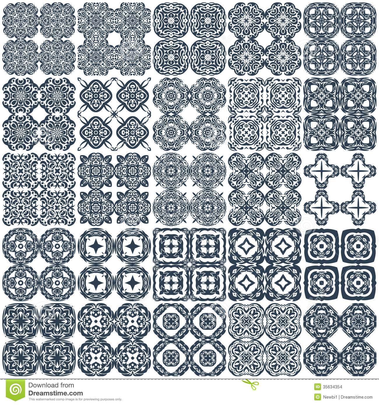 Set Of 25 Geometrical Seamless Patterns Vector Stock