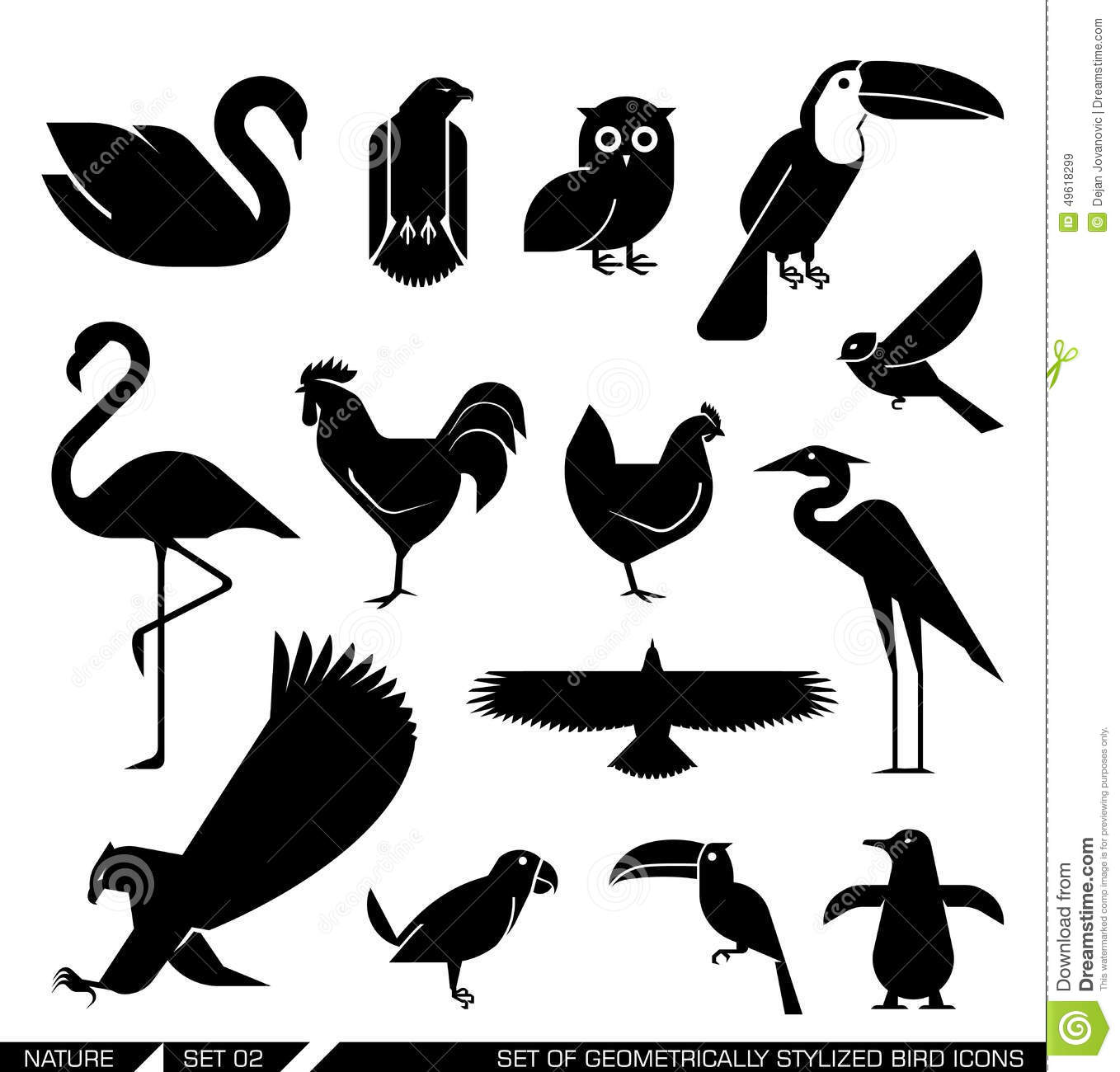 Set of various bird icons: swan owl eagle rooster flamingo penguin ...