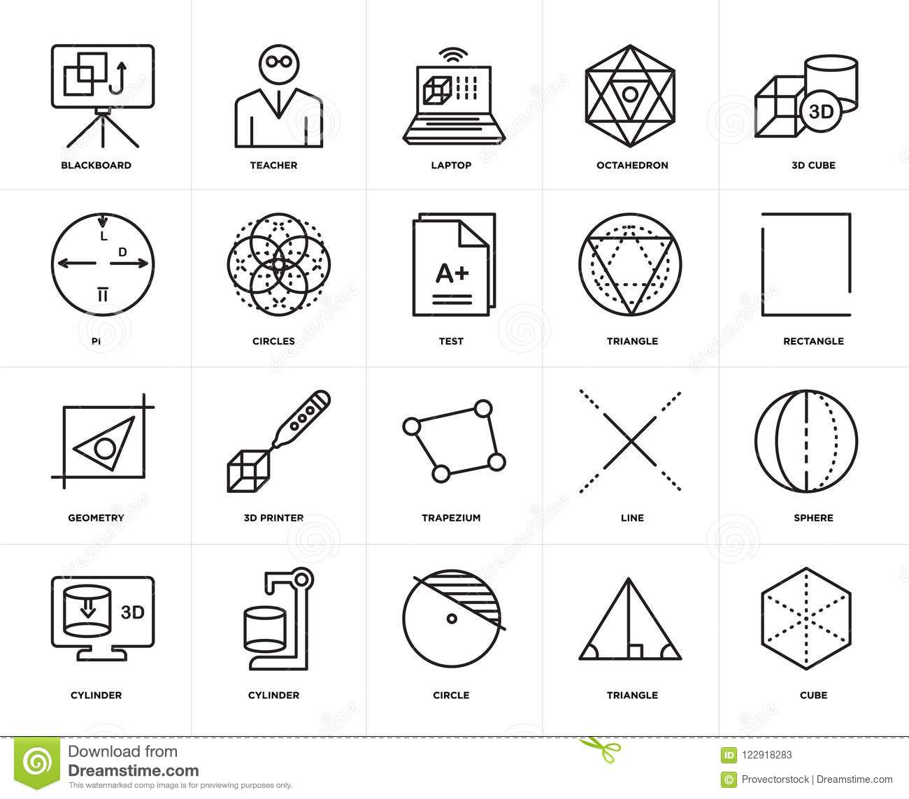 Set Of Geometry, Cube, Triangle, Cylinder, Sphere, Trapezium
