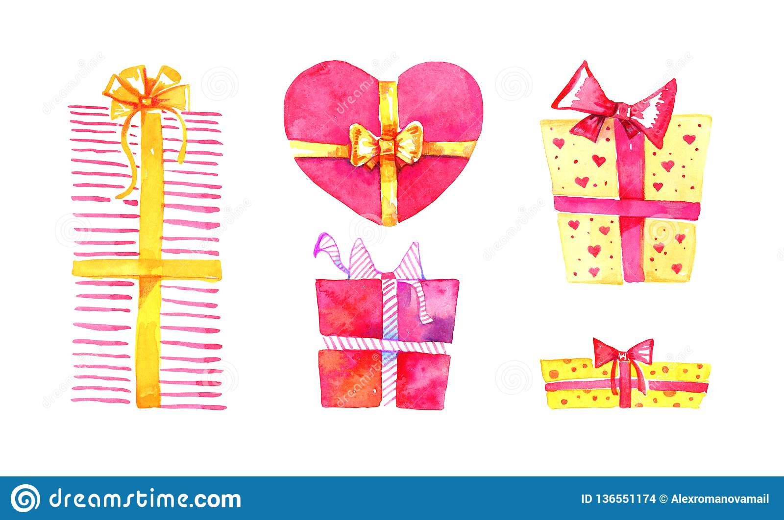Set of gift boxes. Hand drawn watercolor cartoon sketch illustration. Red and yellow boxes square and heart shape