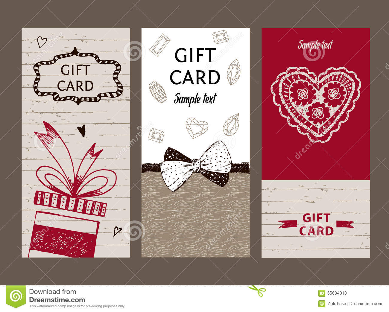 Set of gift cards hand drawn templates gift certificate stock set of gift cards hand drawn templates gift certificate 1betcityfo Image collections