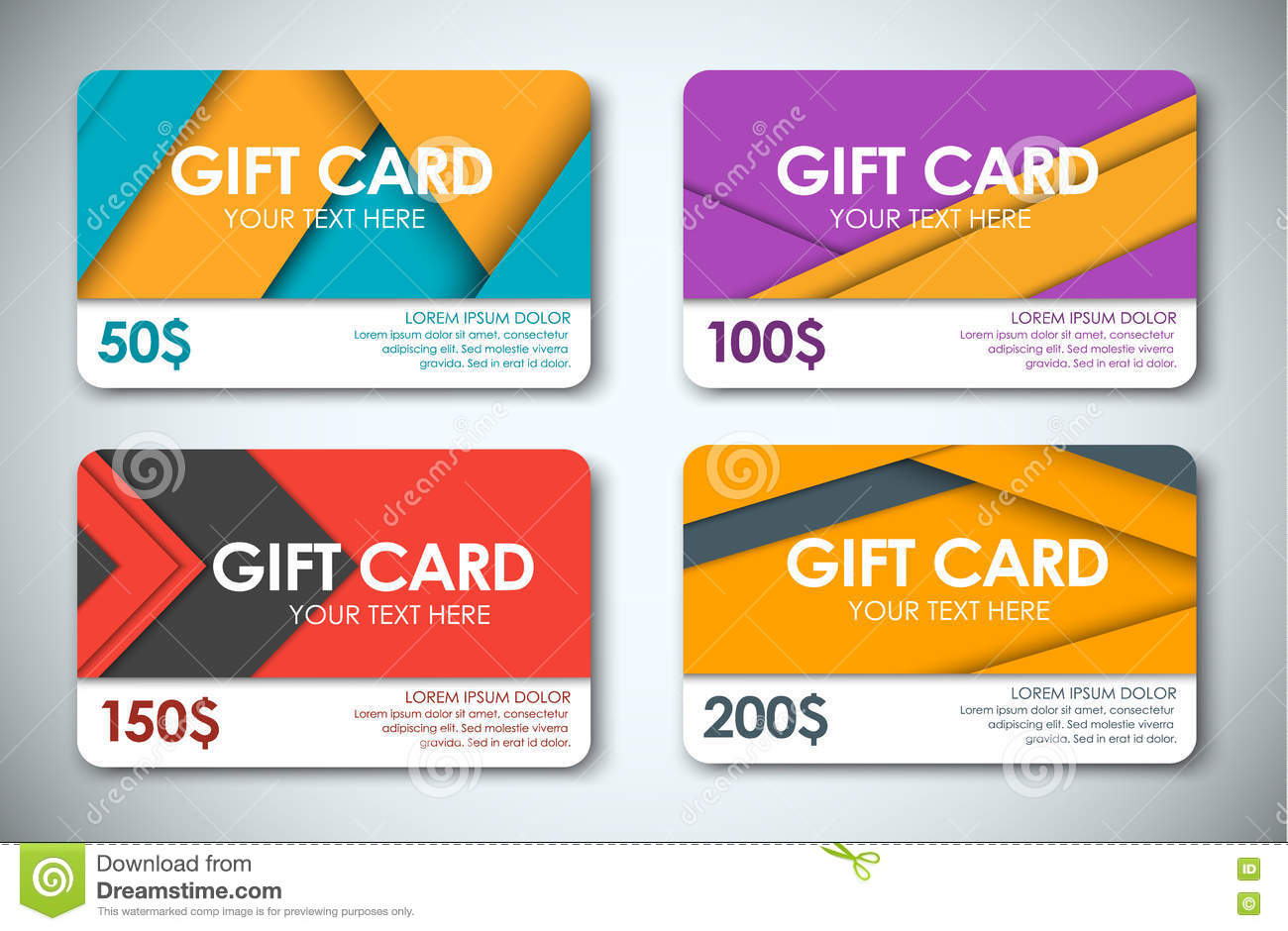 Design of discount card - Set Of Gift Cards In The Style Of The Material Design Royalty Free Stock Photos