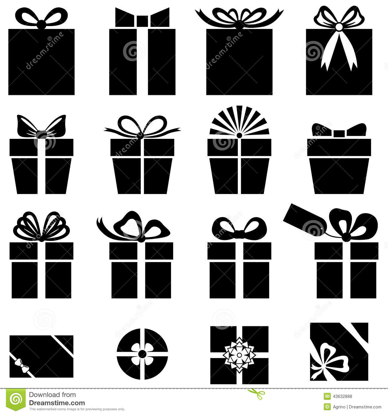 Set silhouette black-and-white image of gift icon.