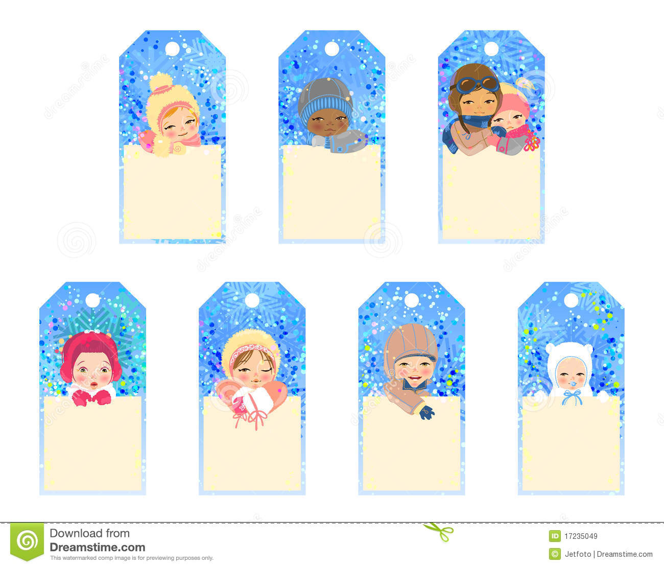 Christmas Gift Tags For Kids.Christmas Tags With Funny Kids Stock Vector Illustration