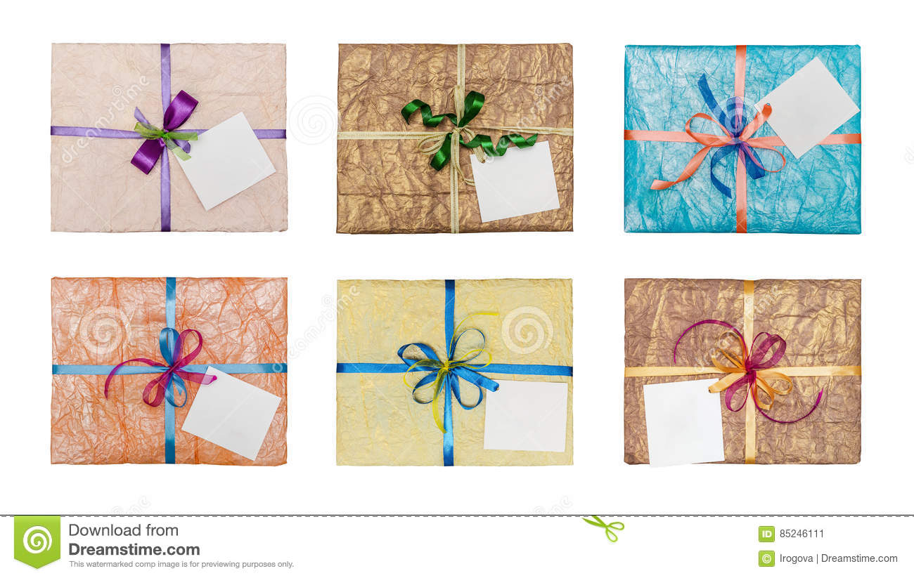 Set of gifts which is elegantly packed into crumpled paper