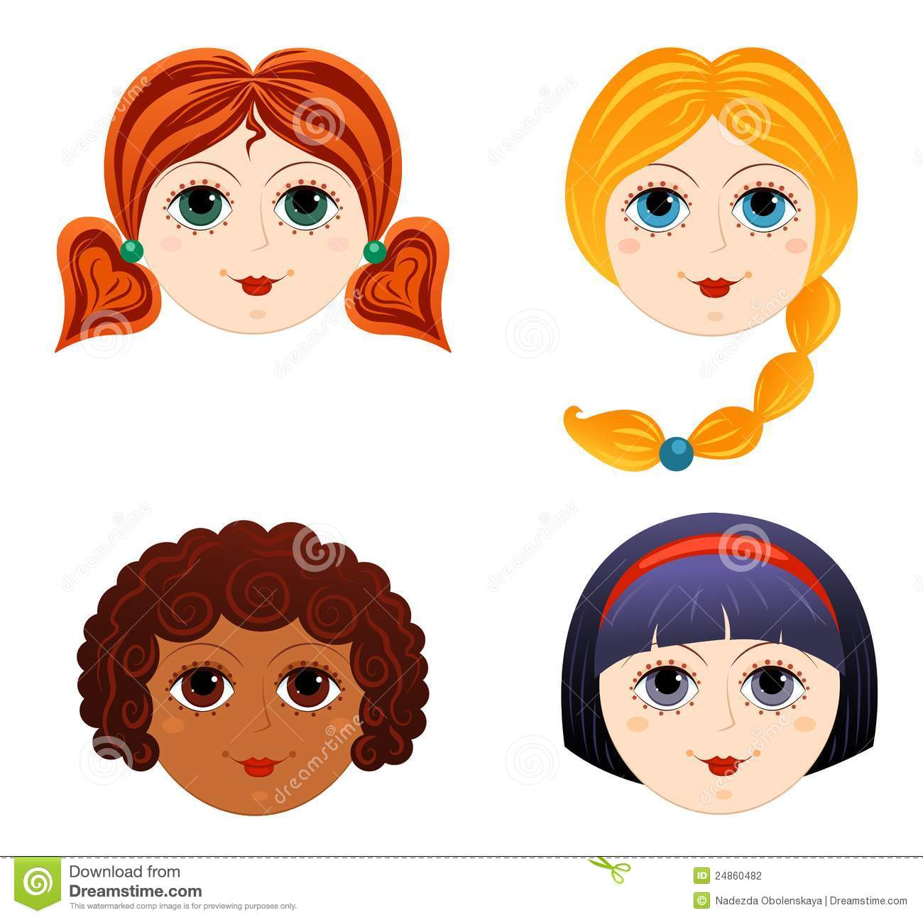 set of girls faces 3 stock vector illustration of ethnicity 24860482