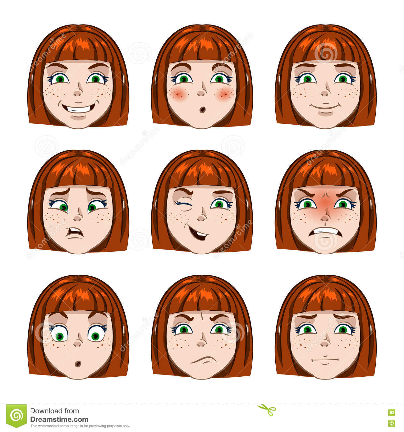 Set Of Girls Faces Emotions Stock Vector - Image: 71947042