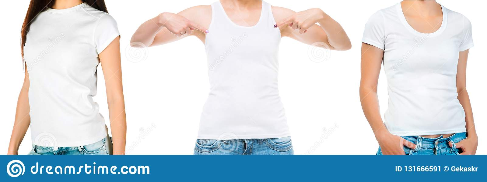 a855a7d4de14a9 Set of girls in a white singlet and shortsleeved top isolated on white  background for your design
