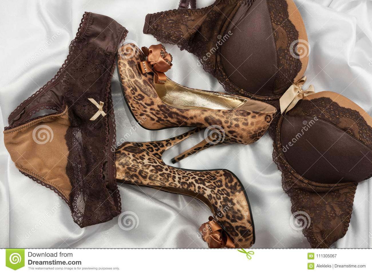 39a440976db3 Set of glamorous stylish brown lace lingerie, woman leopard shoes on white  silk background.