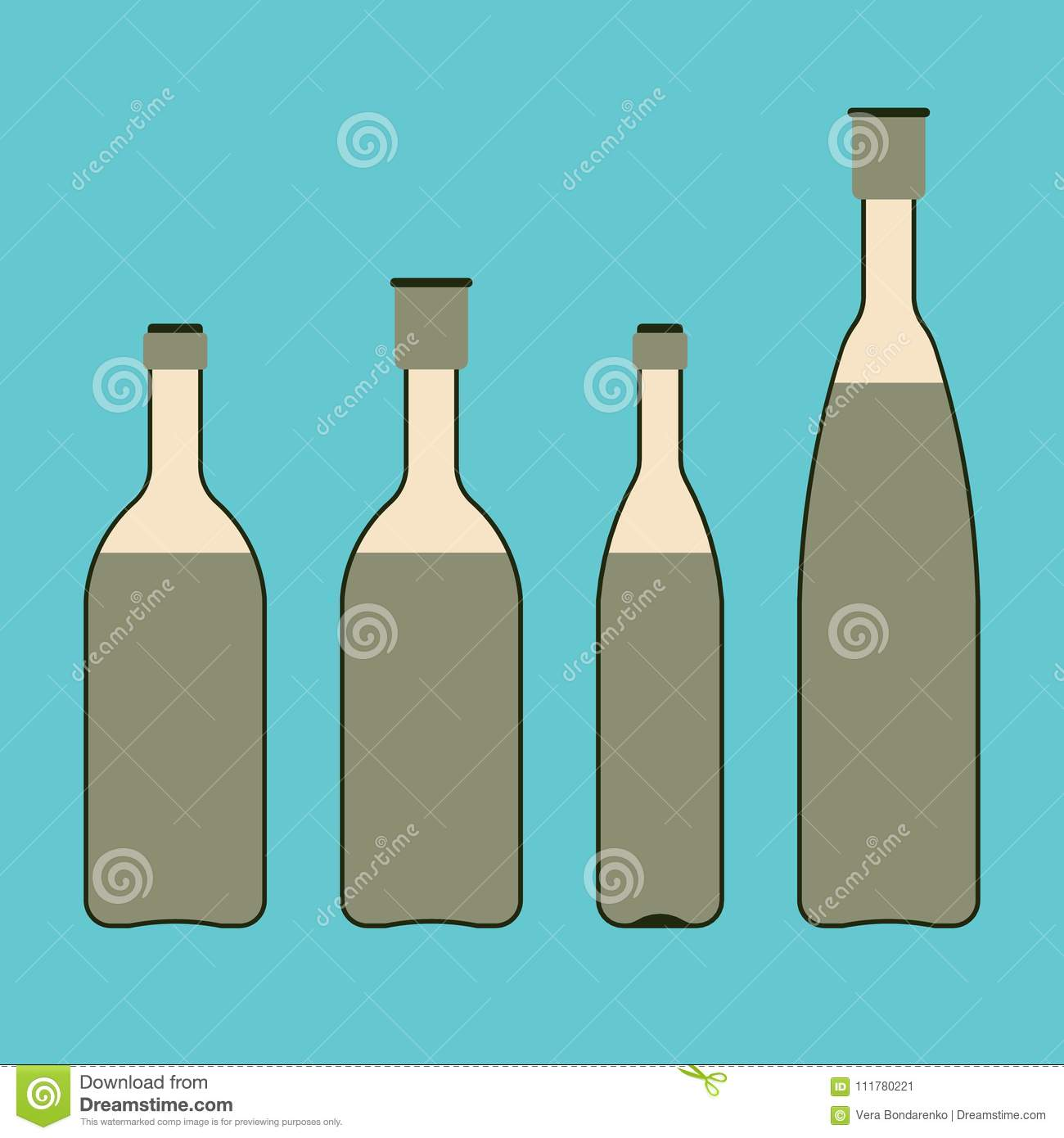A set of glass bottles with drinks or vegetable oil. Flat style vector illustration.