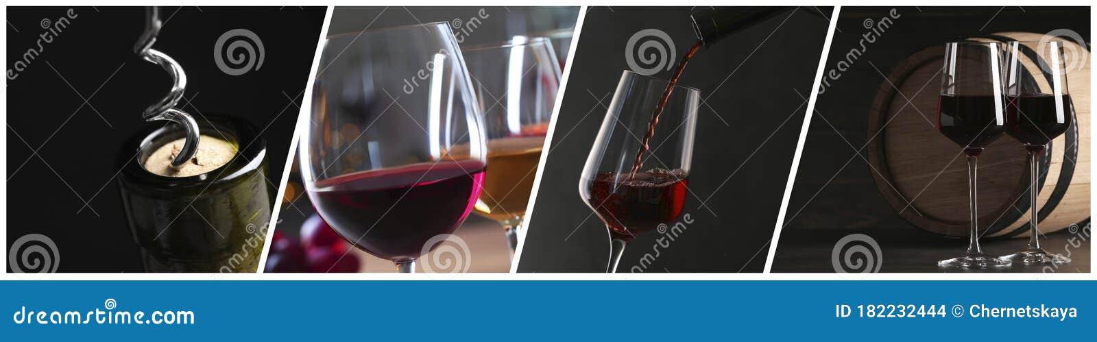 Glasses And Bottles Of Red Wine Banner Design Stock Photo Image Of Barrel Merlot 182232444