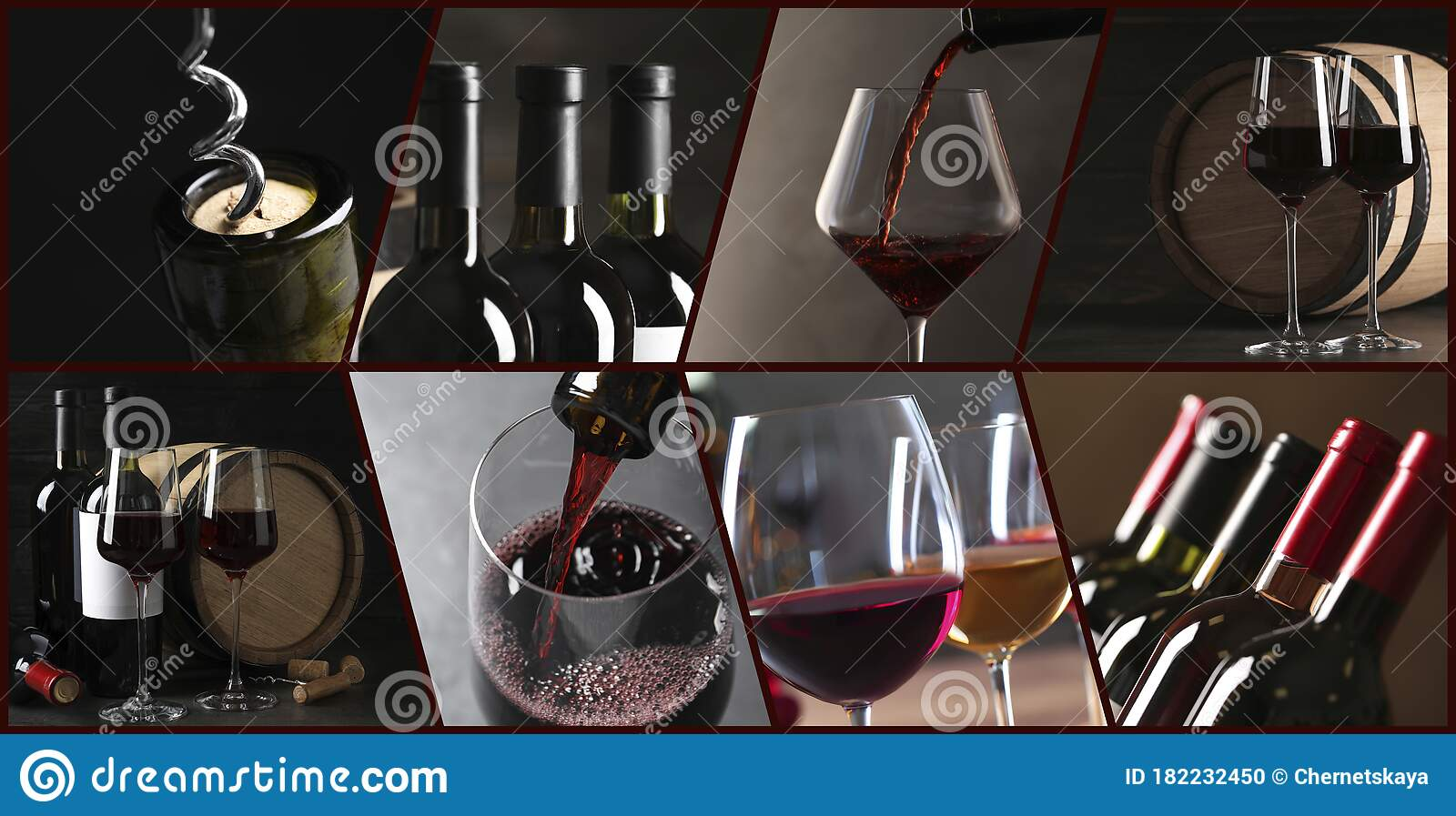 Glasses And Bottles Of Red Wine Banner Design Stock Photo Image Of French Different 182232450