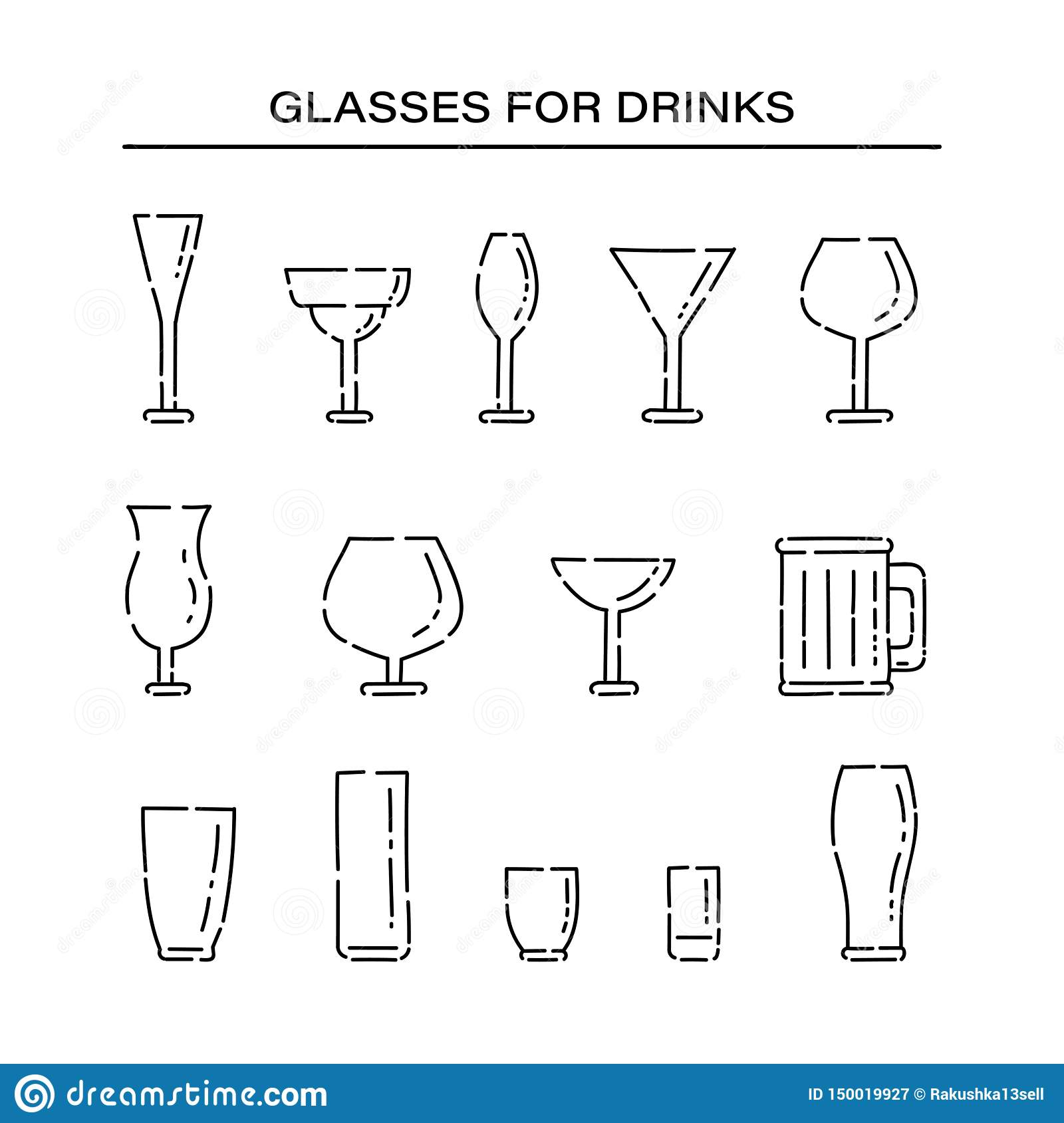 Set glassware for different alcoholic beverages line art vector black white isolated illustration.