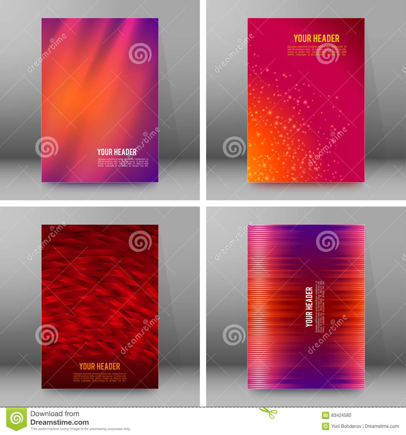 set of glow theme brochure cover page a format stock vector set of glow theme brochure cover page a4 format04