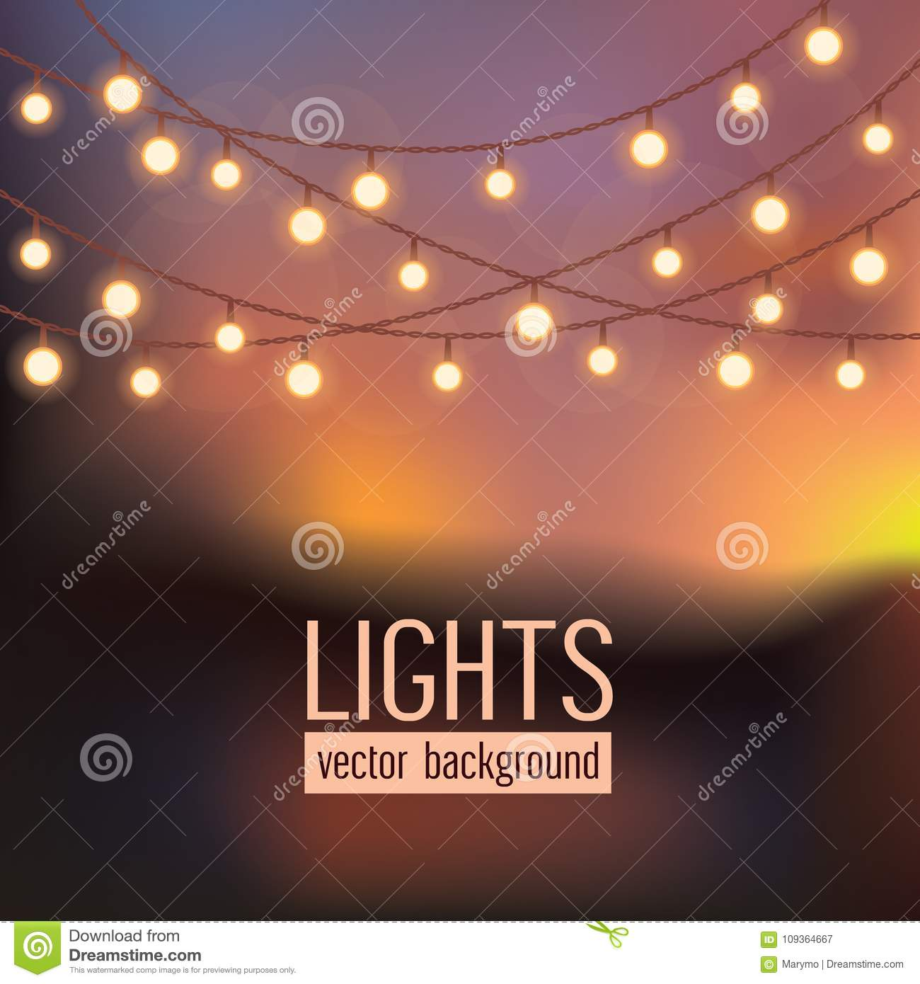 Set of glowing string lights on abstract evening sky background. Vector illustration