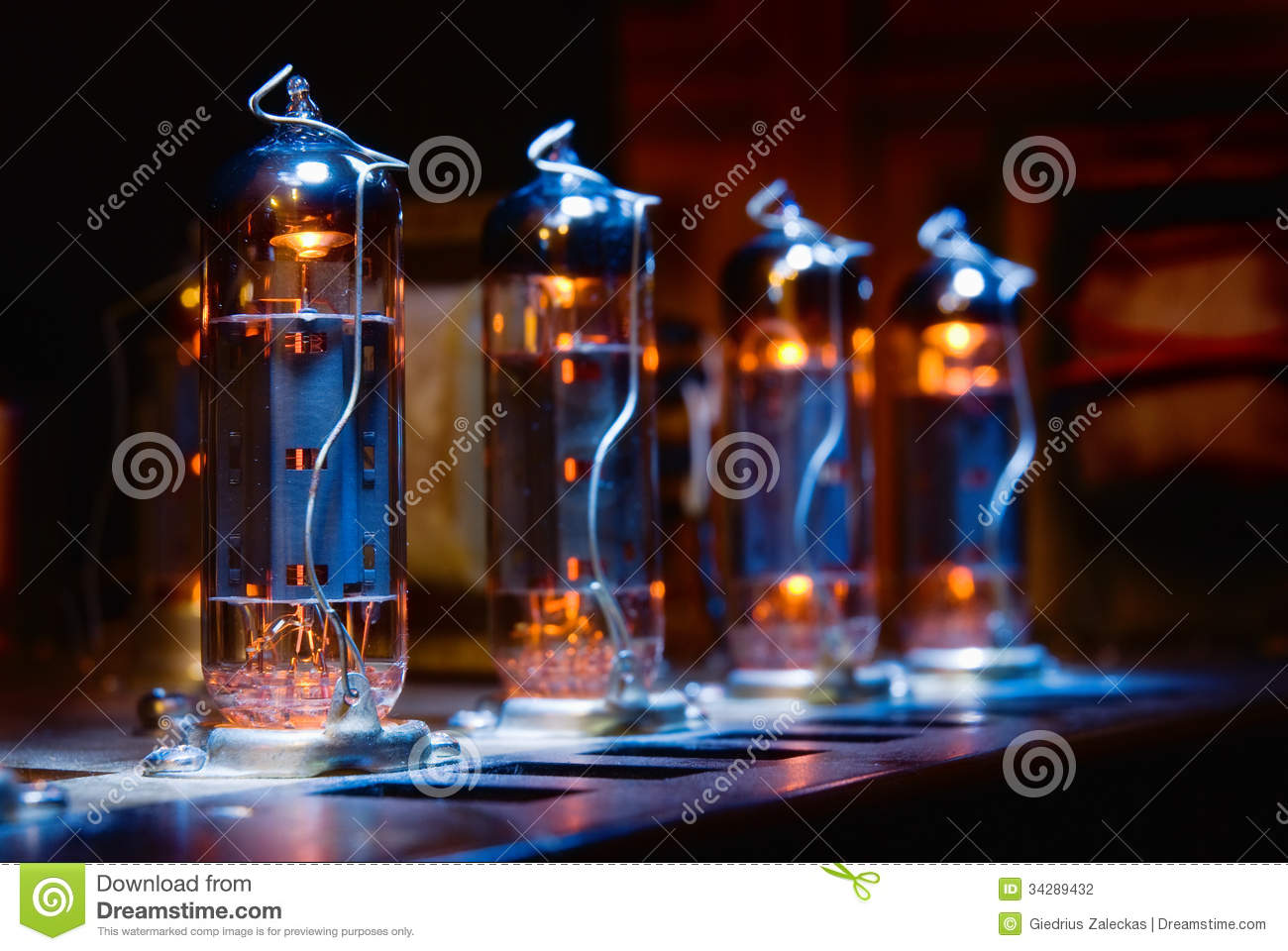 Set Of Glowing Vacuum Electron Tubes Stock Photography
