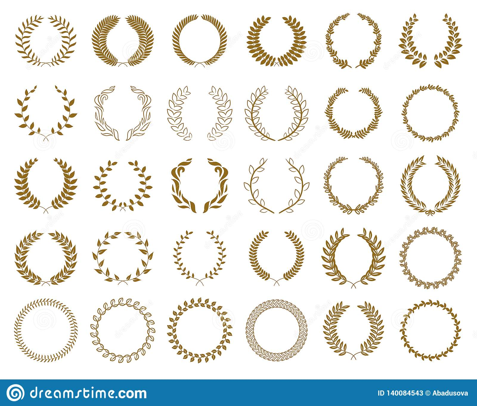 Set of gold award laurel wreaths and branches on white background, vector illustration
