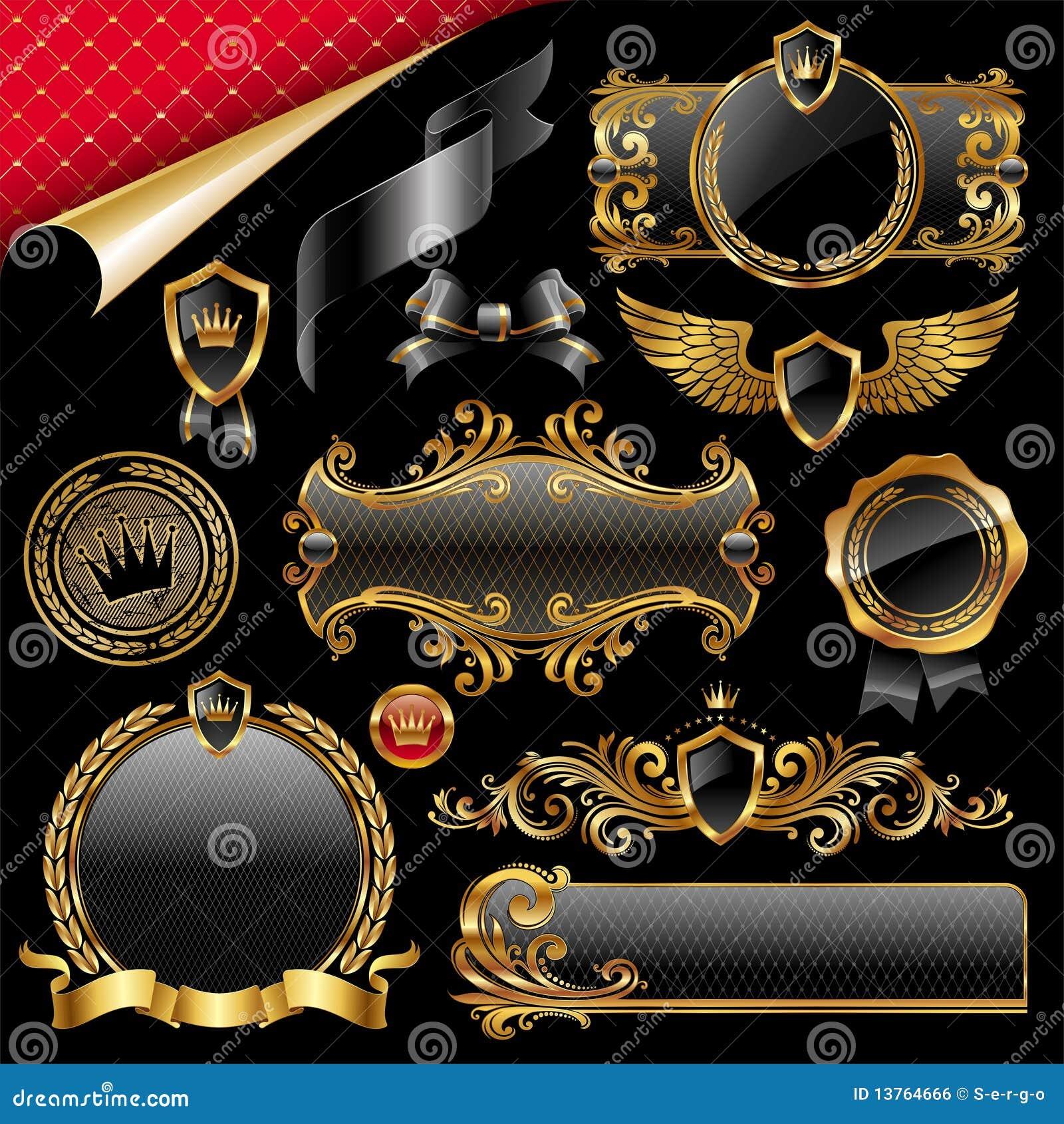 Set of gold and black design elements