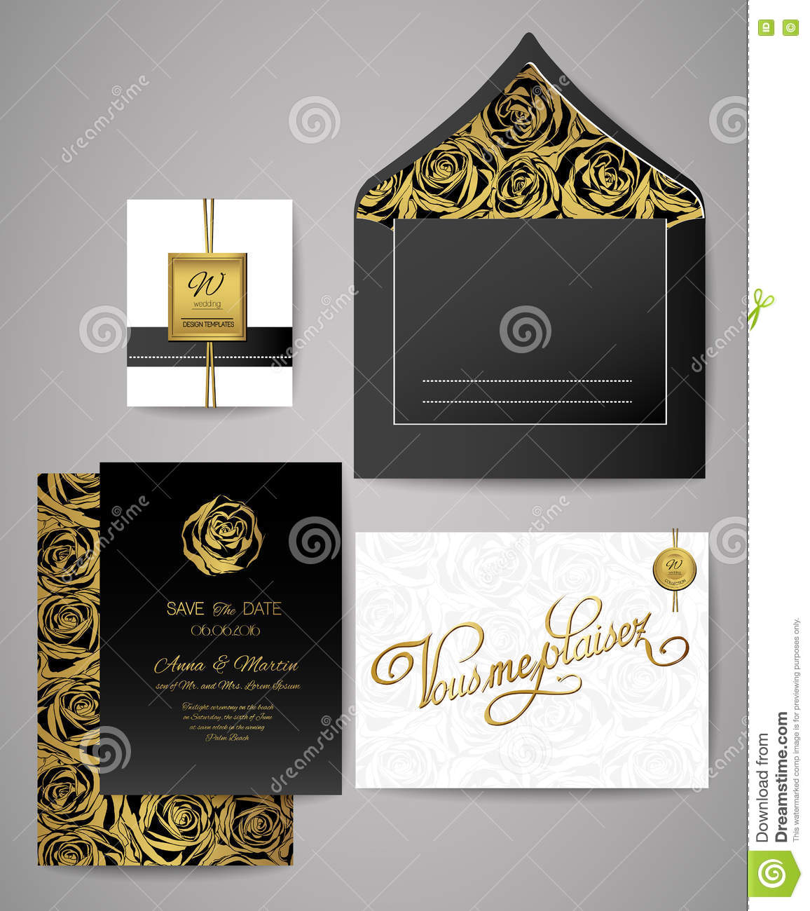set of gold and black floral invitation cards wedding invitations