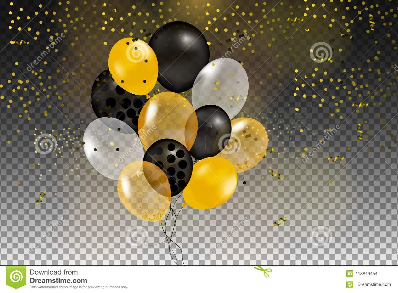 Set of gold, black, yellow, white helium ball isolated in the air