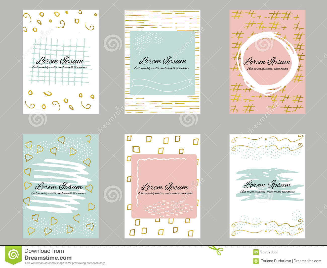 Set of 6 gold, blue, pink and white business card template or gift cards