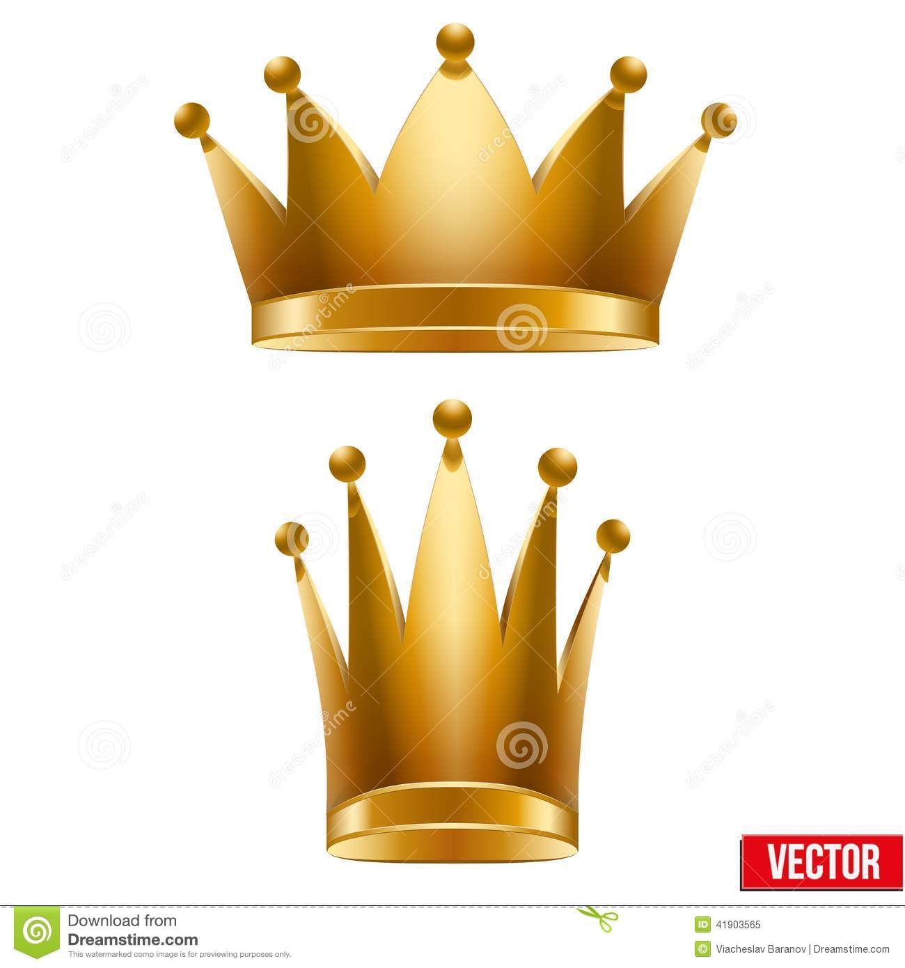 set of gold classic royal crowns  king and queen  stock vector