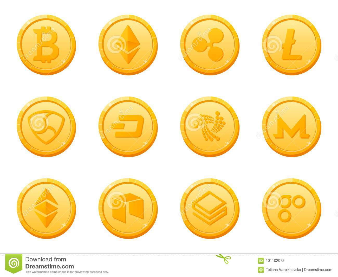 Set of 12 gold coins crypto currency icon. Top digital electronic currency by market capitalization.