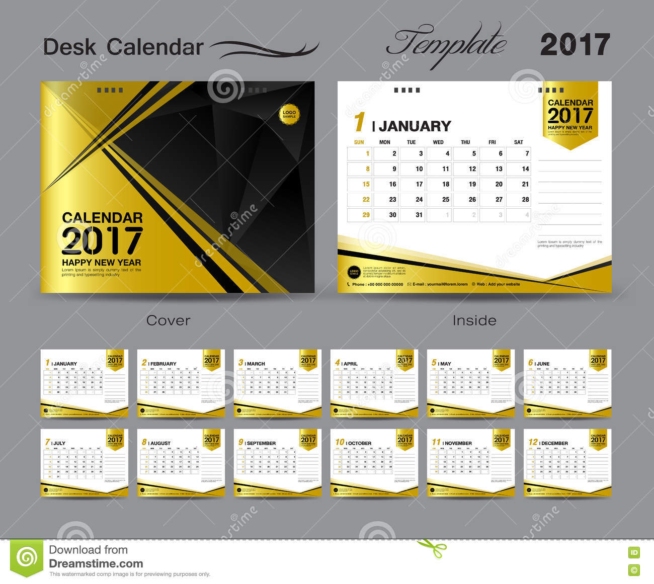 Desk Calendar Design : Set gold desk calendar template design cover
