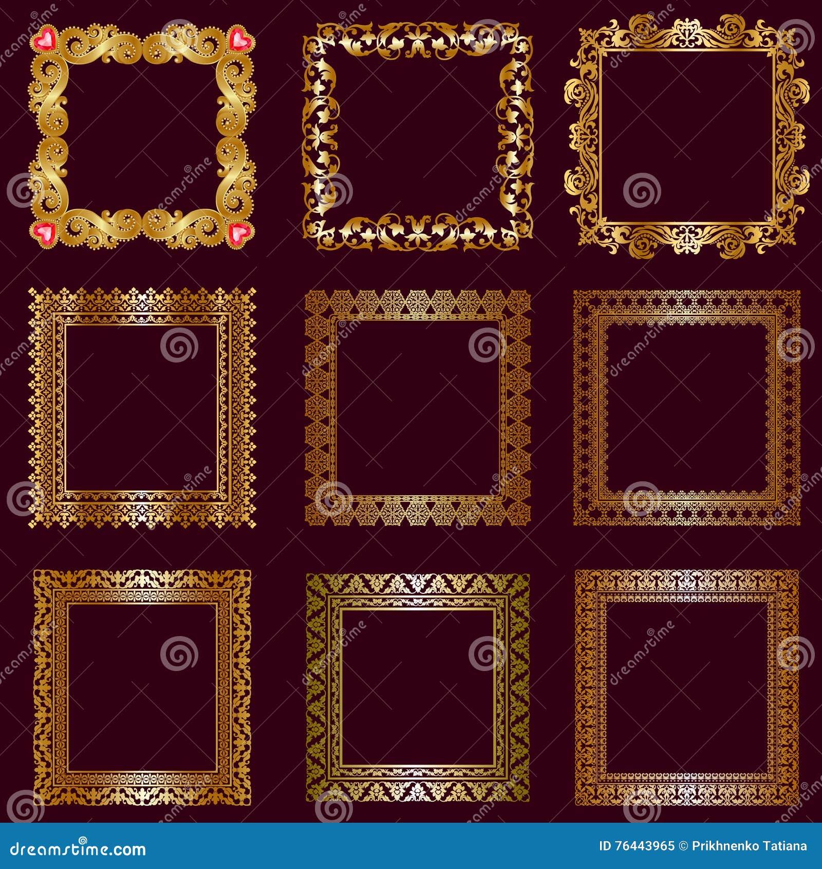 Set Of Gold Frames Stock Vector Illustration Of Elegant 76443965