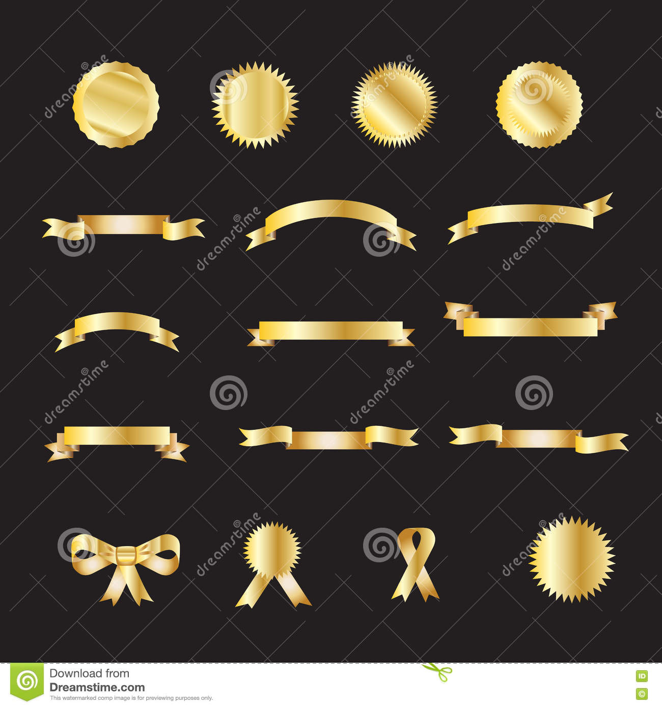Download Set of gold luxury ribbons stock vector. Illustration of decoration - 73474703