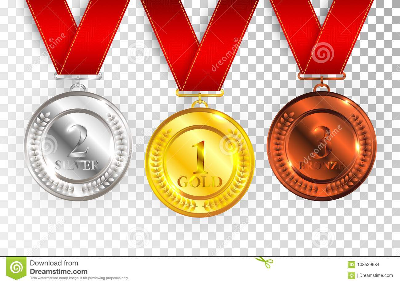 Set of gold, silver and bronze award medals with red ribbons. Medal round empty polished vector collection isolated on transparent