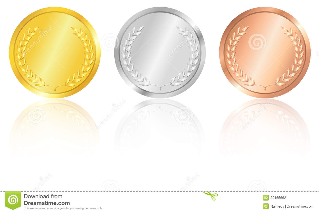 Set of the gold silver and bronze medals with the image of a laurel