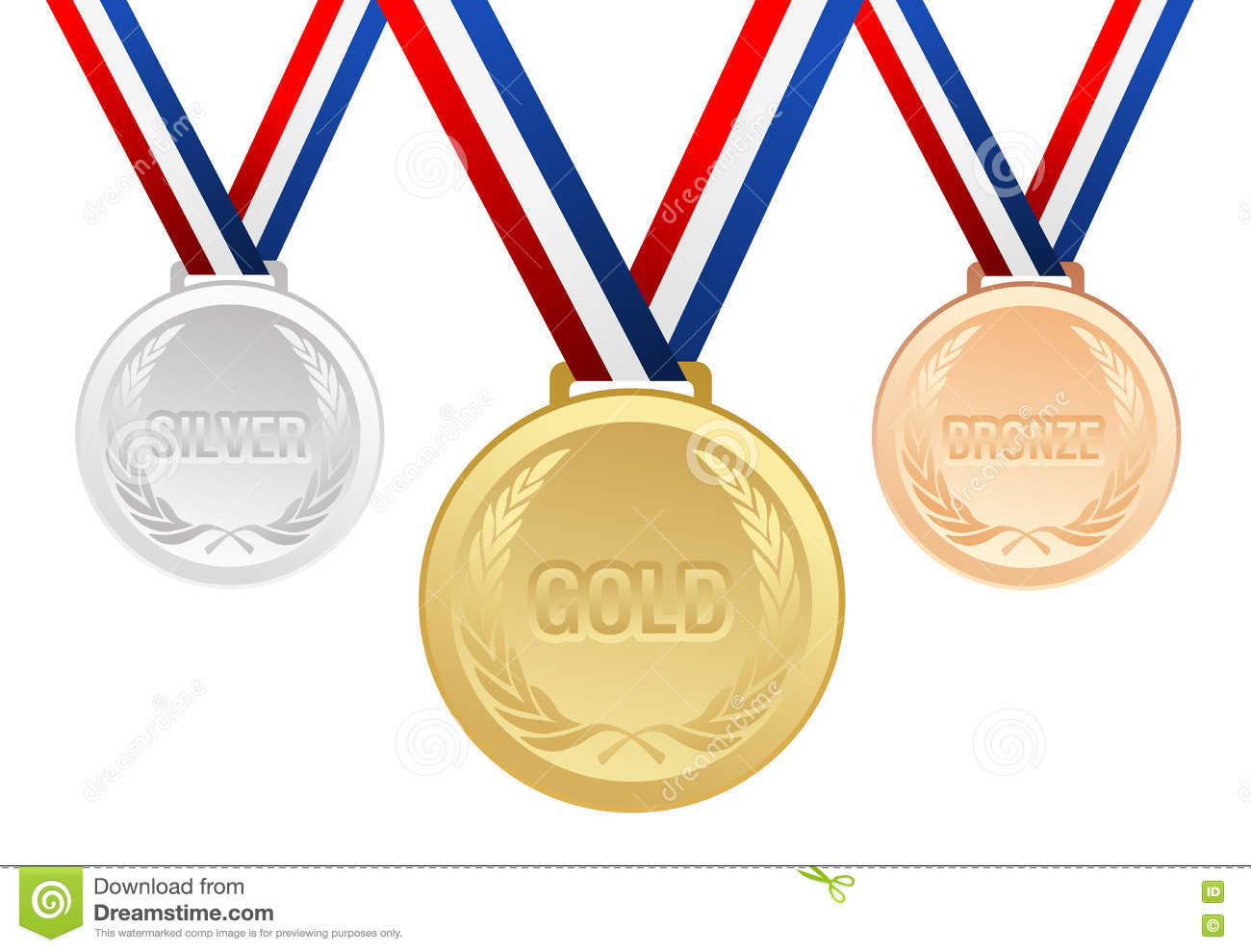 gold silver and bronze medals with ribbons cartoon vector