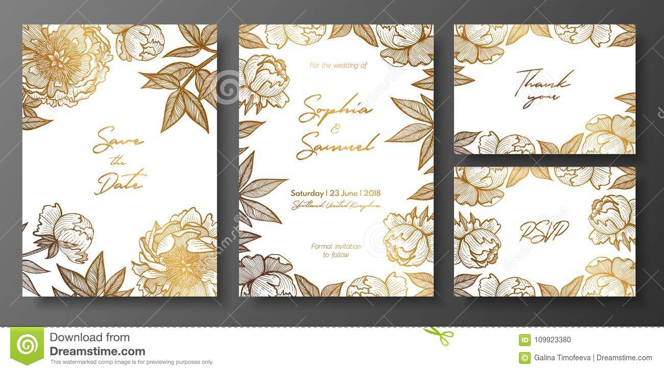 set of gold and white wedding cards with peonies gold floral cards