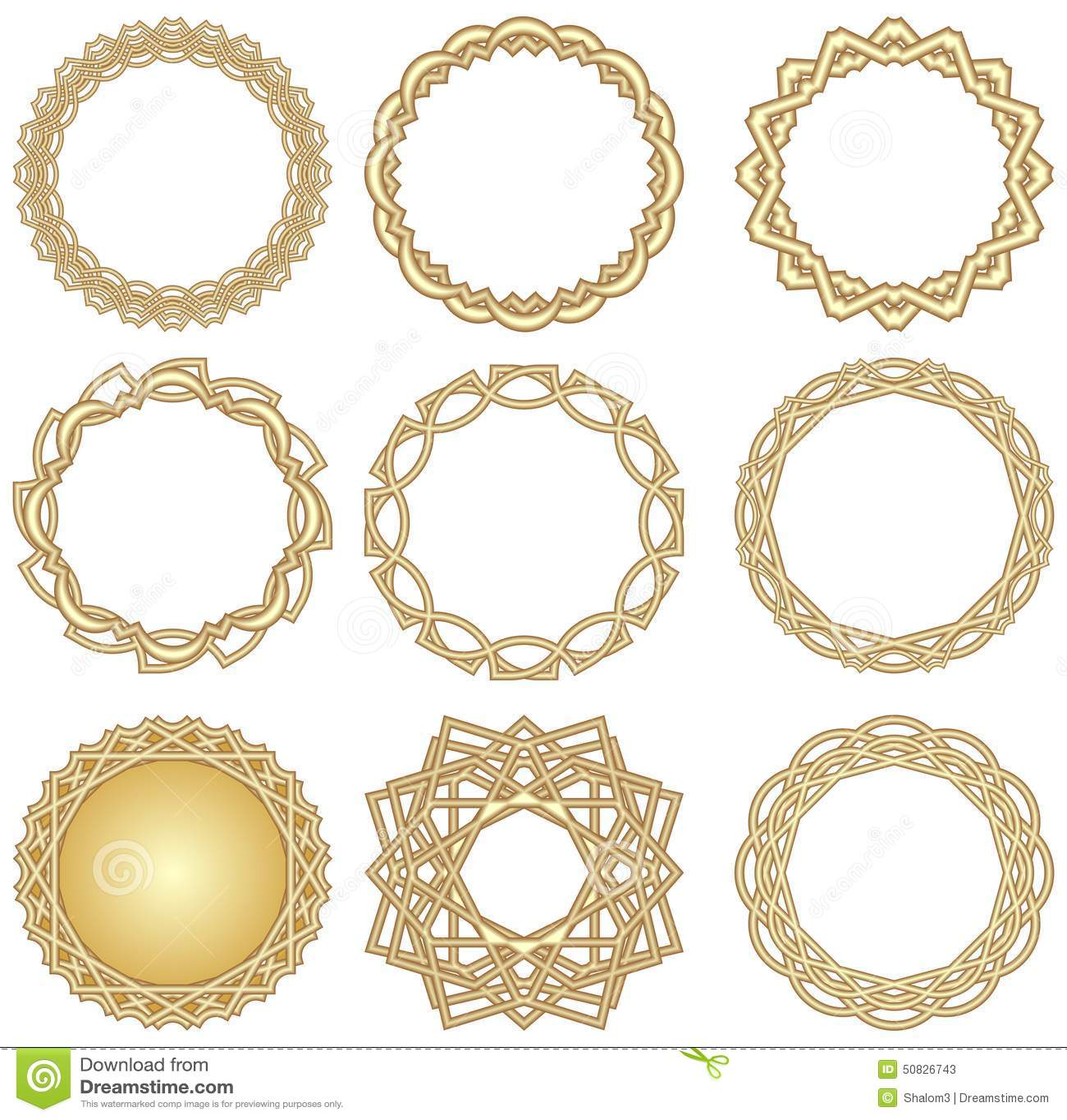 Circle Design Art : A set of golden decorative circle frames in art deco style
