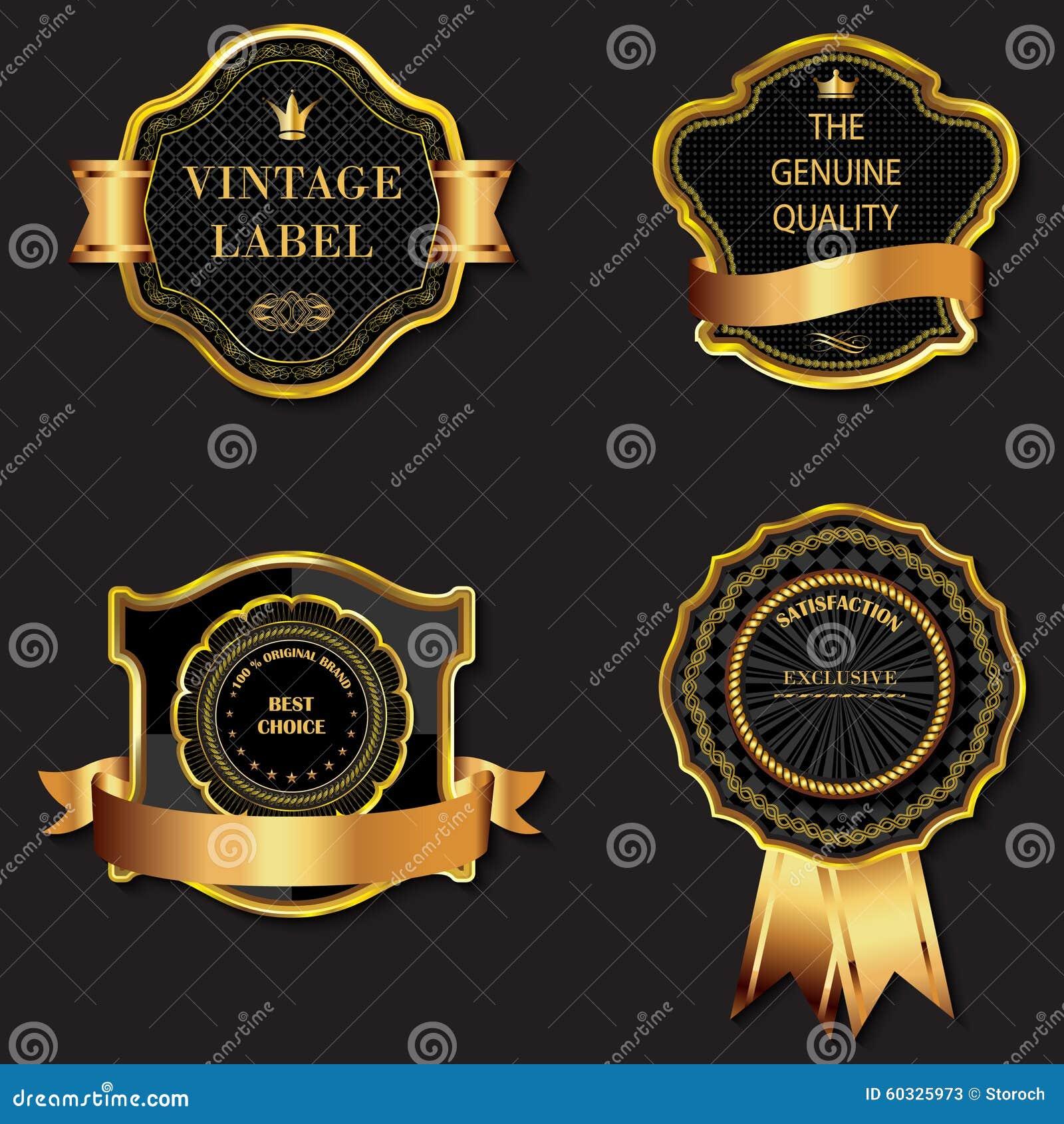 8f4cddaf7a7 Royalty-Free Vector. Set of golden decorative ornate black golden-framed  labels.