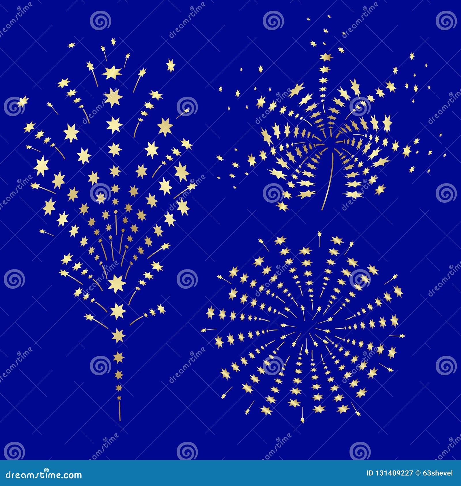 A Set Of Golden Festive Fireworks  Stock Vector