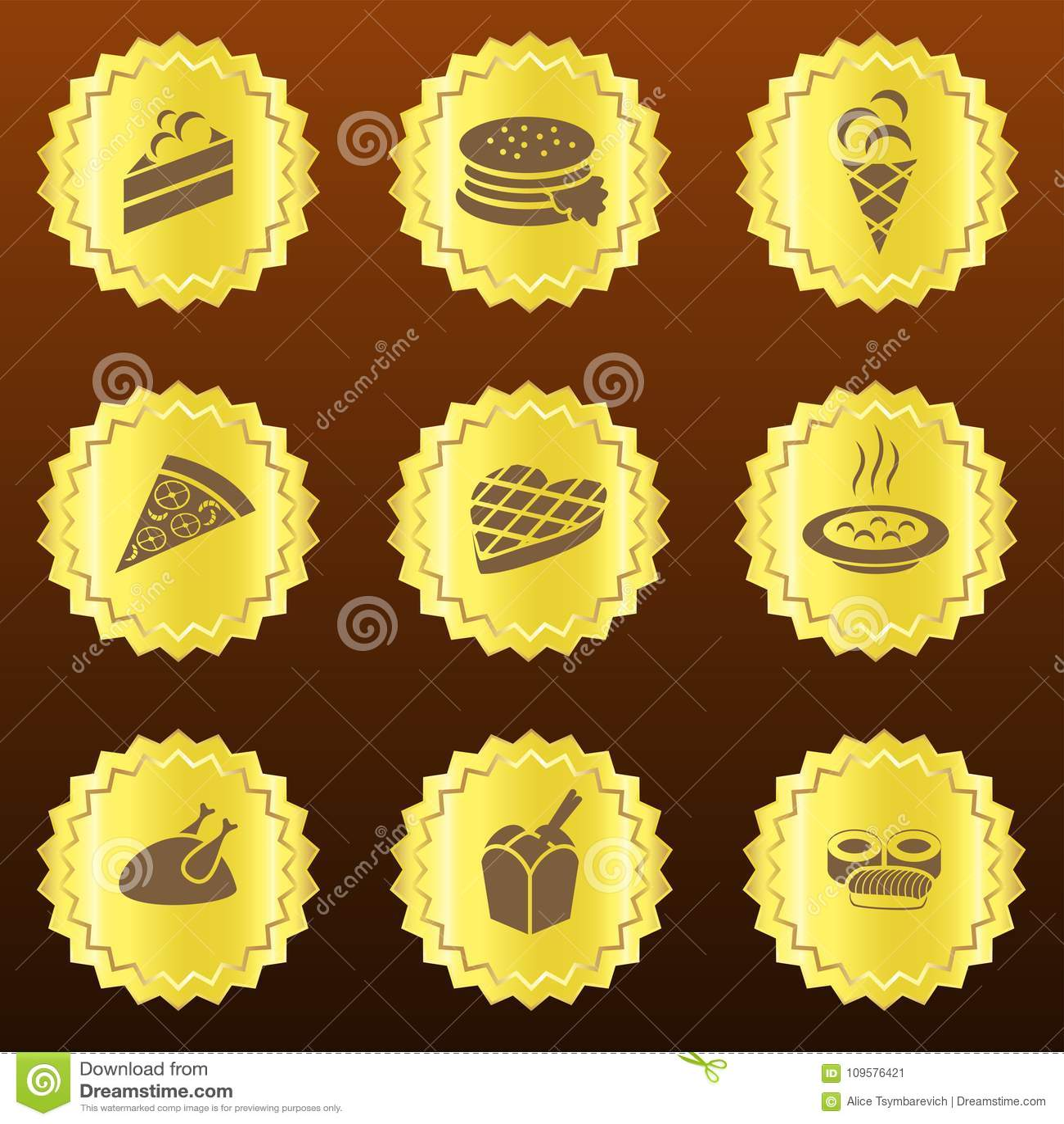 Set of golden food-related badges or medals