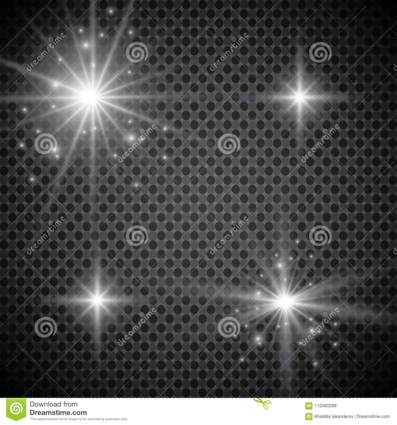 Set of golden glowing lights effects isolated on transparent background. Sun flash with rays and spotlight. Glow light effect. Sta