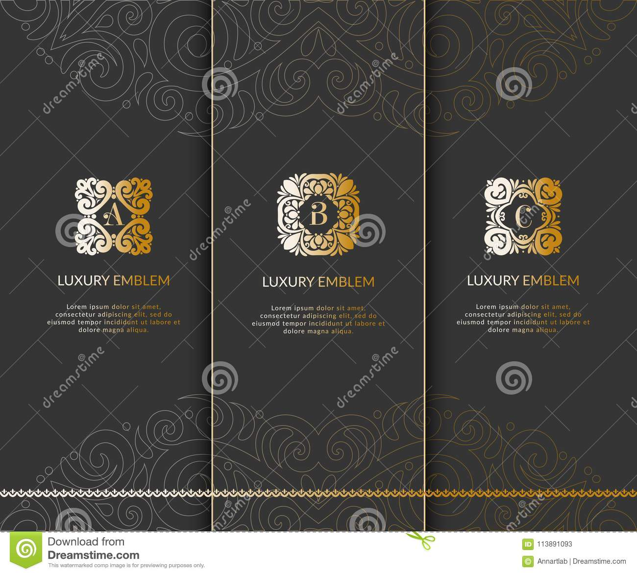 set of golden monograms on a black background stock vector
