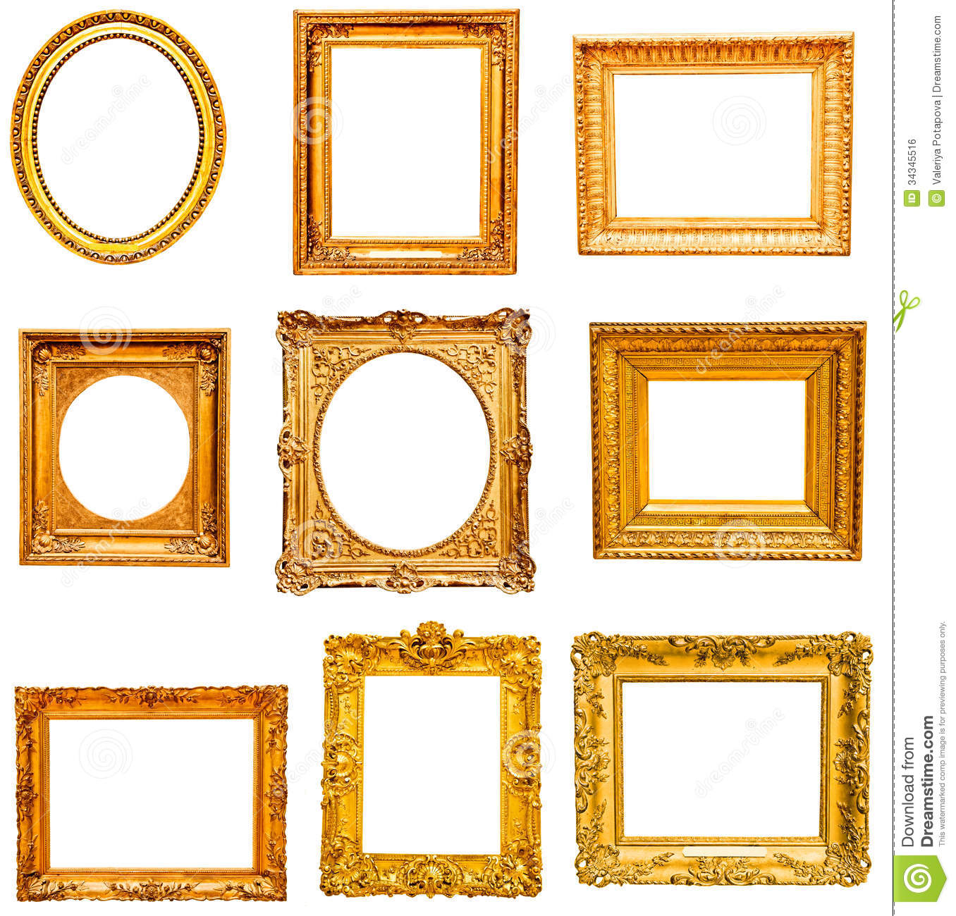 Set Of Golden Vintage Frame Stock Photo - Image of baroque, gold ...