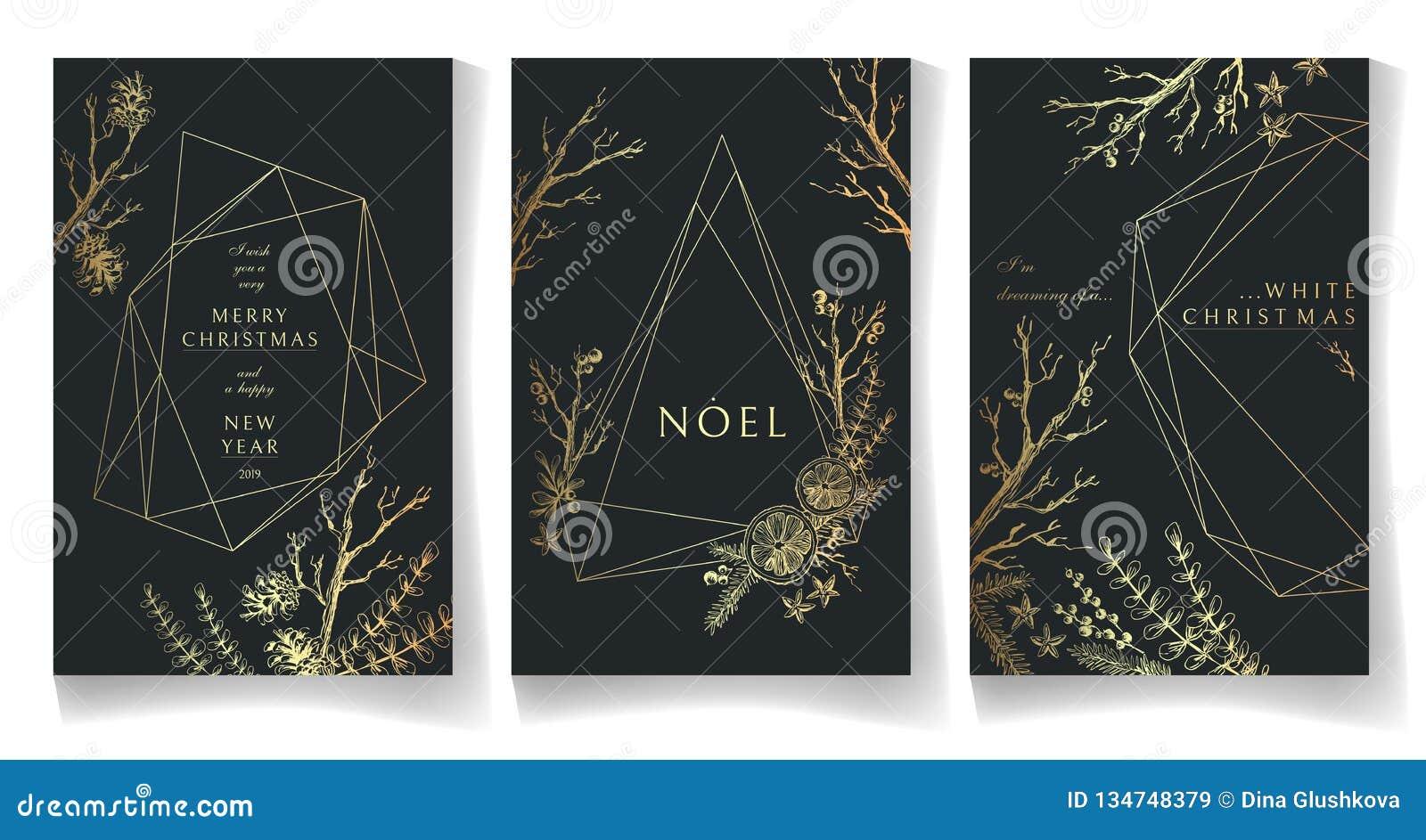Set Of Golden Winter Cards, Geometric Trendy Crystal Design