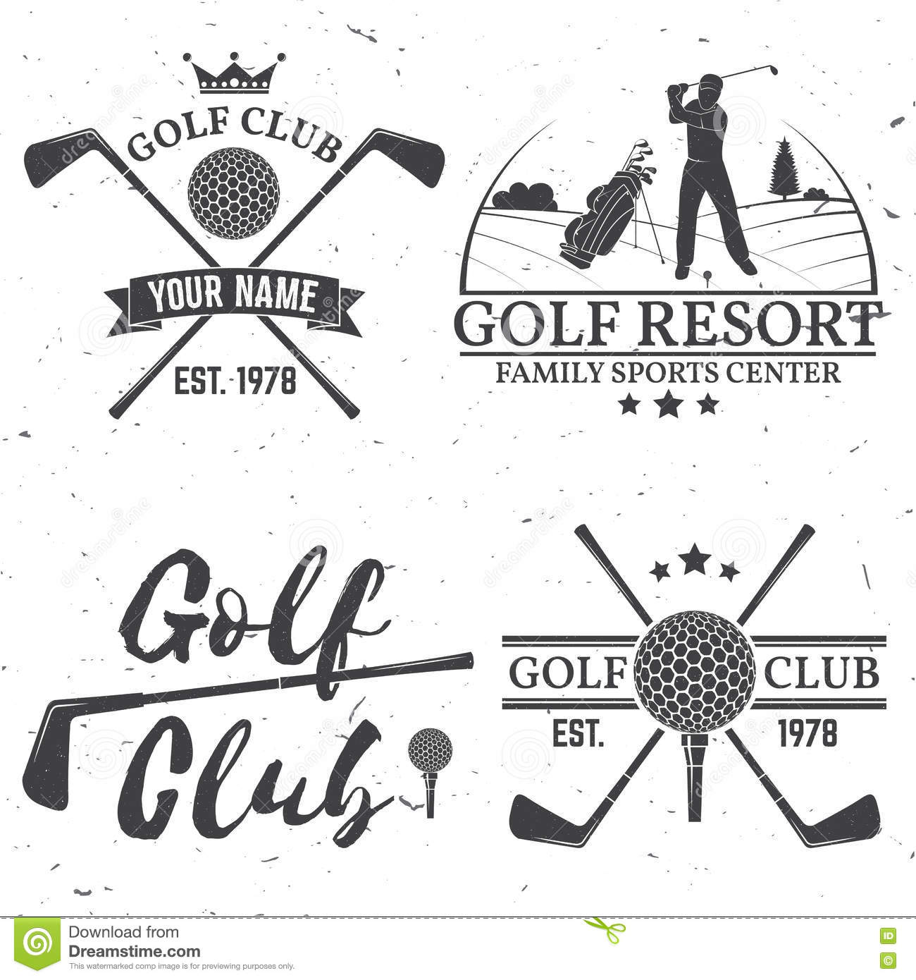 Set Of Golf Club Concept With Golfer Silhouette Stock Vector