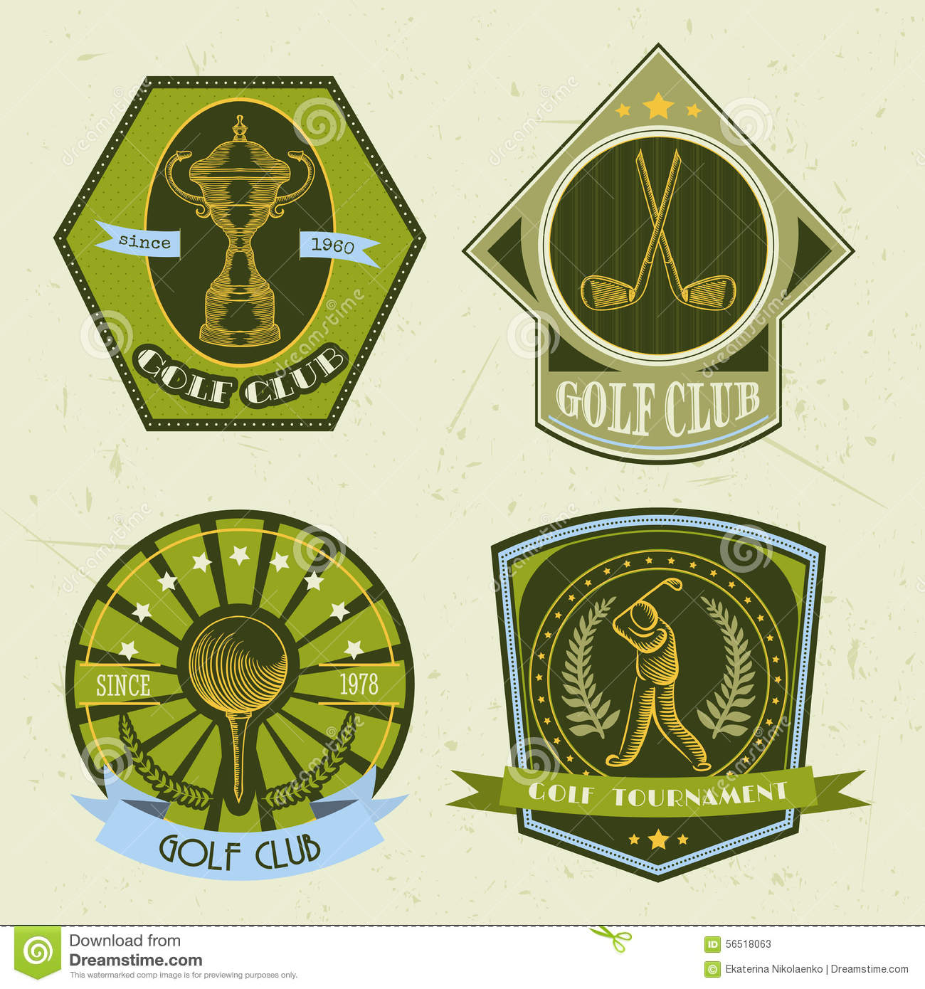 set of golf club logo templatesvintage sport labels with