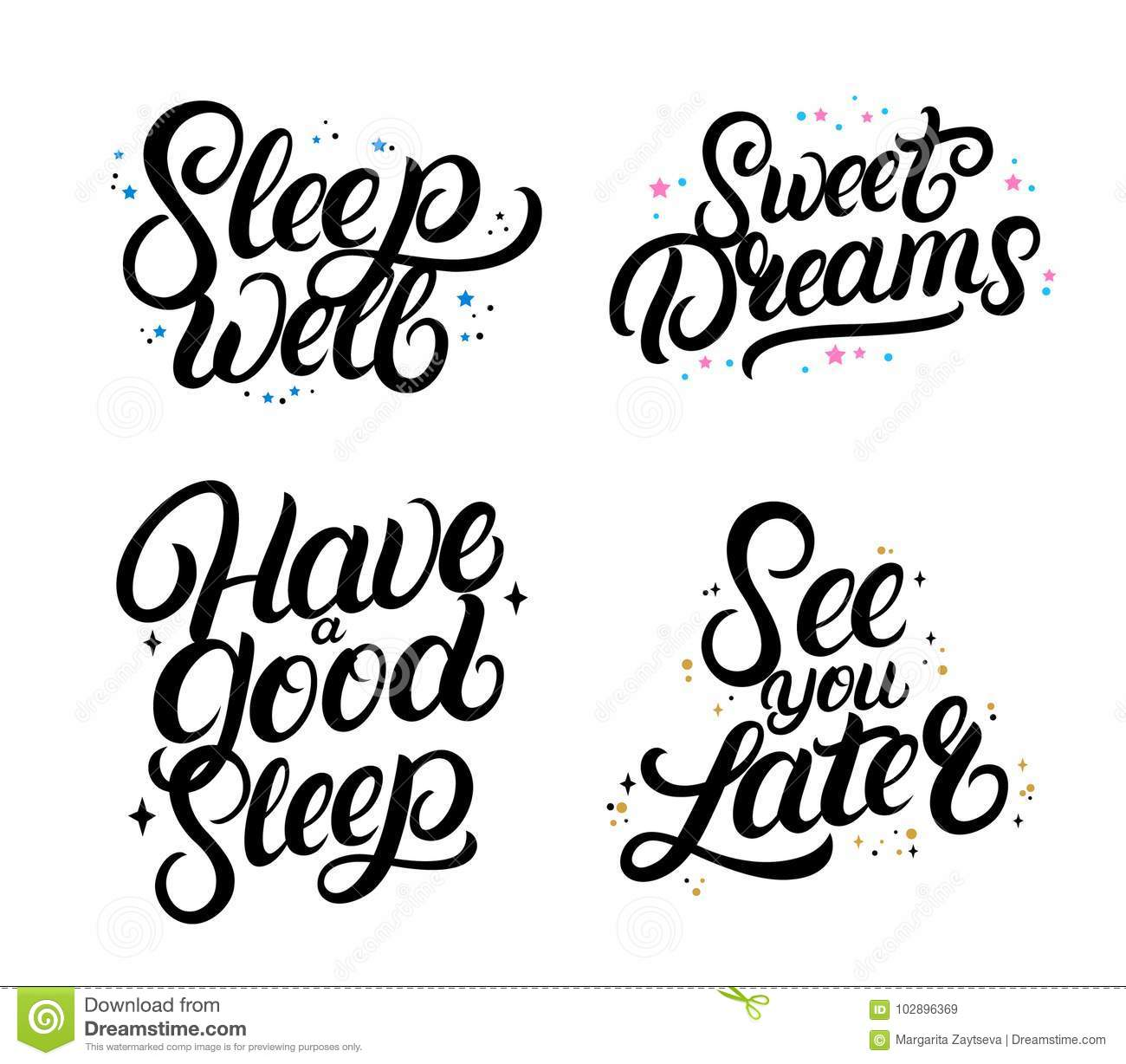 Set Of Good Nigth Calligraphy Quotes Sweet Dreams Stock Vector