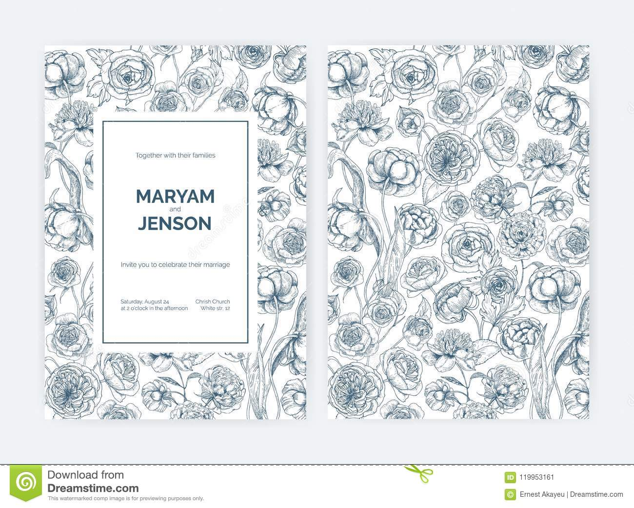 Set Of Gorgeous Wedding Invitation Or Save The Date Card Templates ...