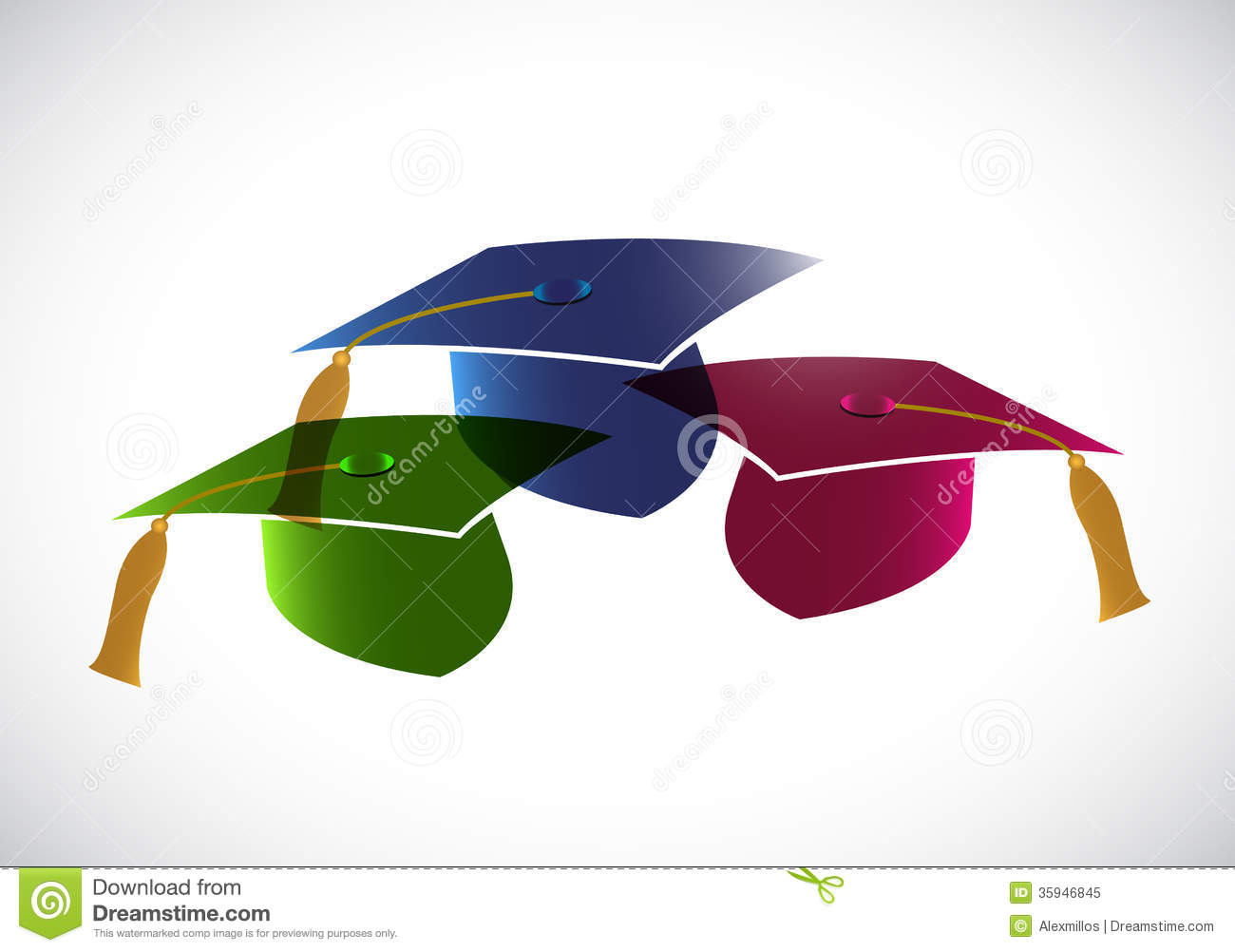 Set Of Graduation Hats. Tassel. Illustration Stock ...