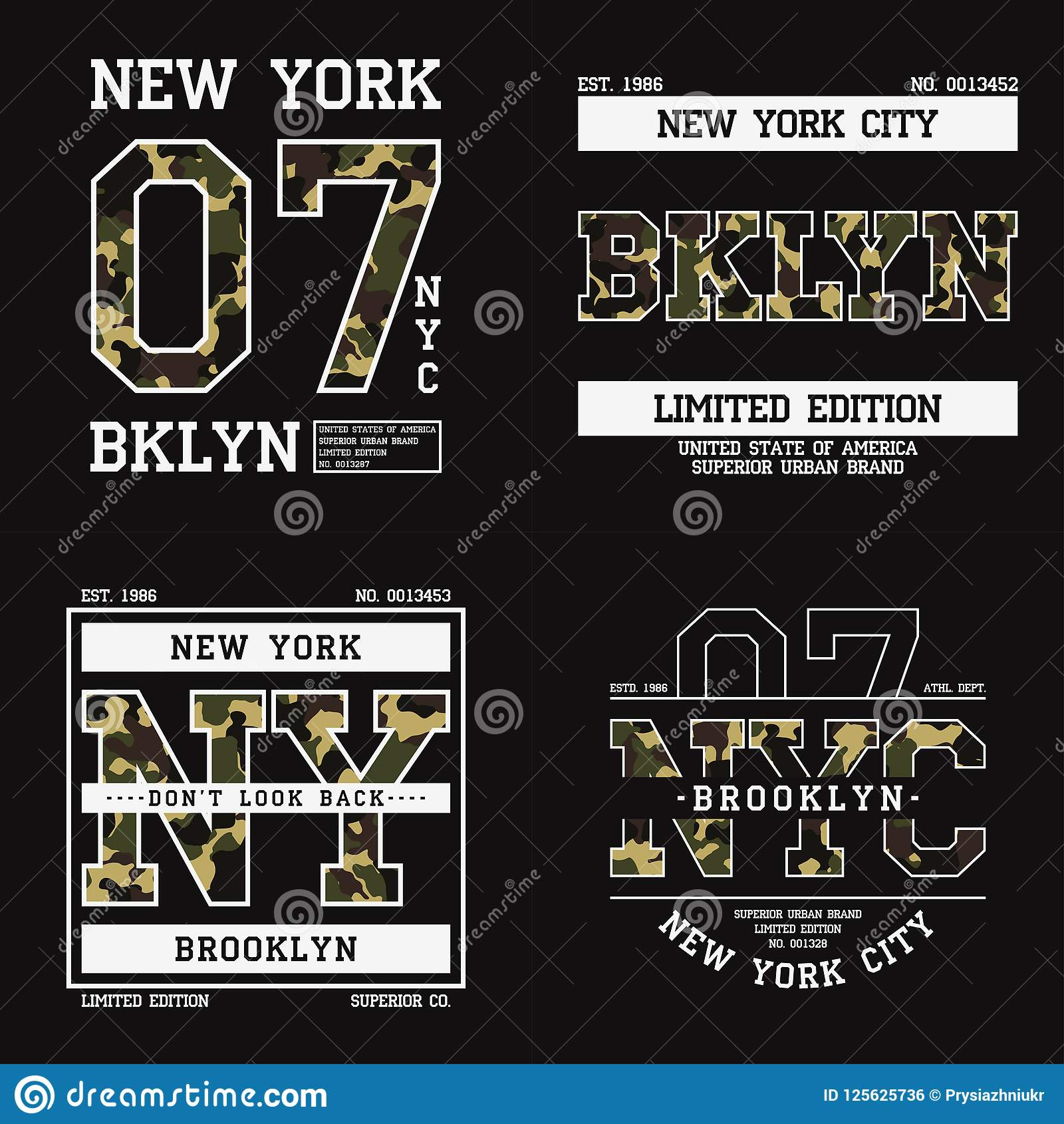 38b65108 Set of graphic design for t-shirt with camouflage texture. New York tee  shirt print with slogan. Brooklyn apparel typography. Royalty-Free Vector