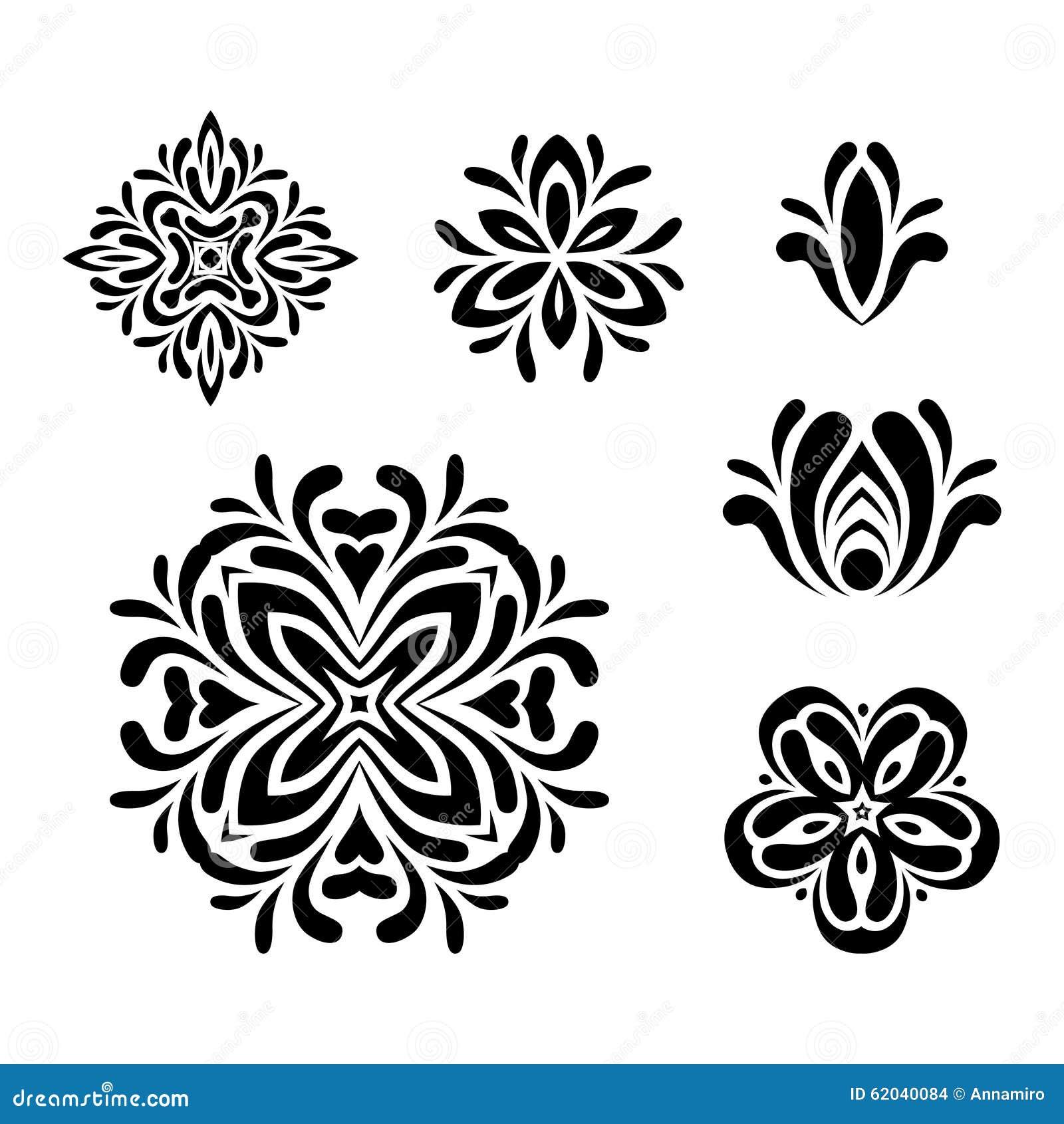 Set Of Black Flower Design Elements Vector Illustration: Set Of Graphic Floral Design Elements. Stock Vector